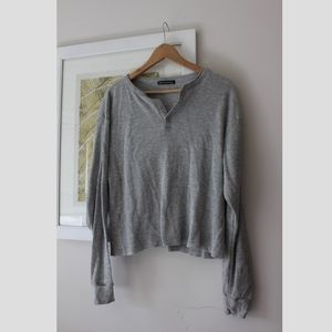Brandy Melville grey henley shirt